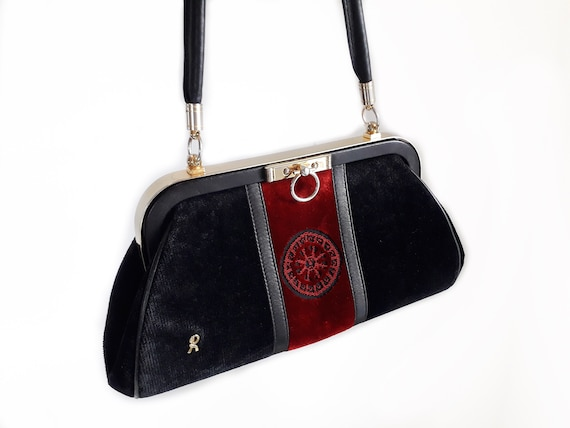 80s Roberta Di Camerino vintage bag - Black red v… - image 2