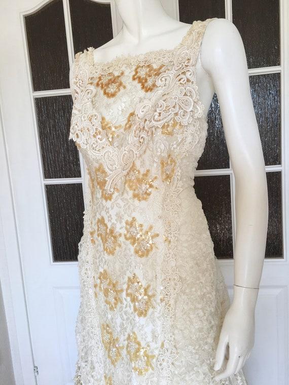 Rare CAROLE LEE Victorian Wedding Gown, Antique L… - image 7