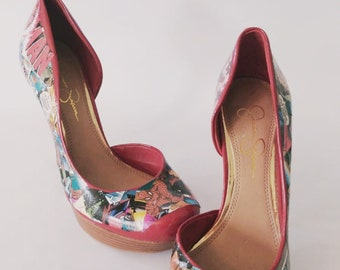 d211631a9 Spiderman Comic High Heals Pumps Red US Size 7 Jessica Simpson brand