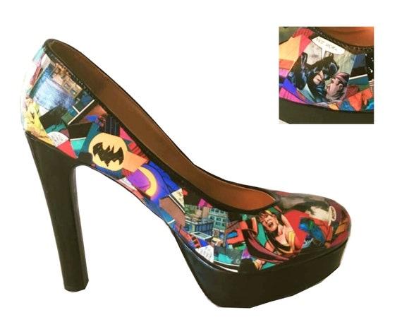 Batman Comic High Heels Size 11 Black