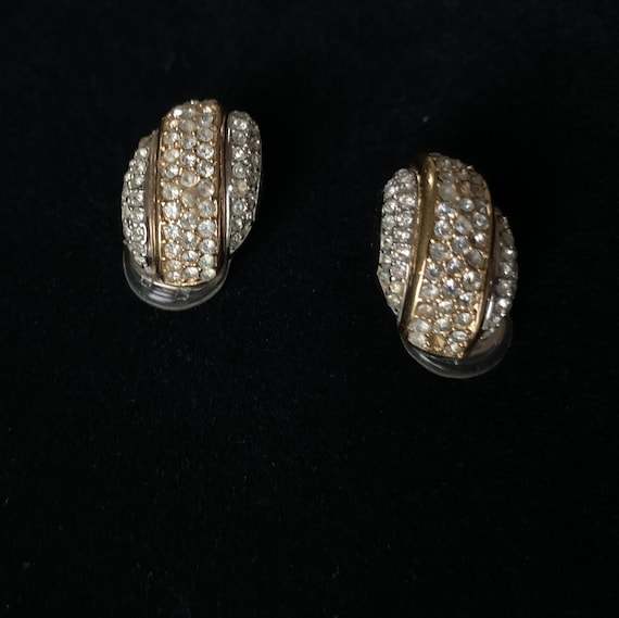 1980s Christian Dior Clip-On Rhinestone Earrings