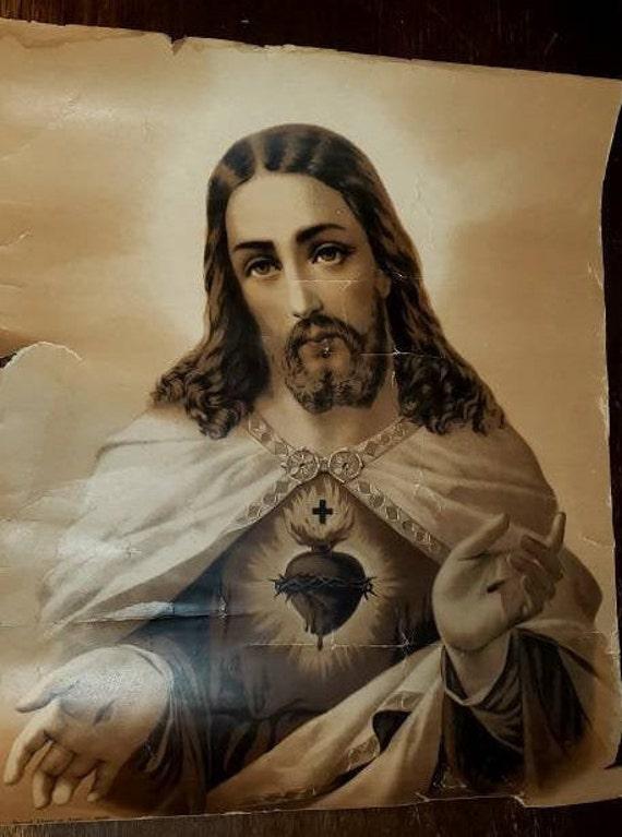 Vintage Jesus Portrait, Antique Jesus Portrait, Ch