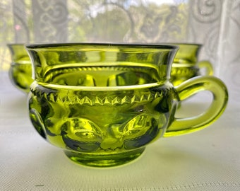 Vintage Indiana Glass Company Kings Crown Avocado Green Cup Set of Five