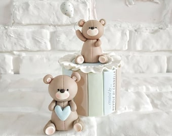 Baby Bear Cake Topper-Orsetti Cake Topper-Teddy Bear Fondant-Animali in pasta di zucchero-Baby Shower Topper