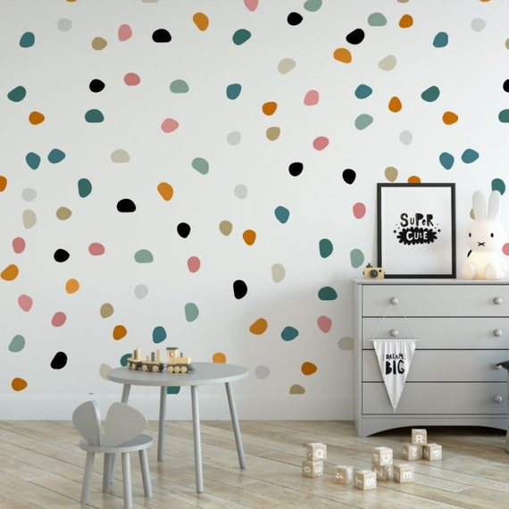 Kids Nursery Wallpaper Decor Polka Dot Wallpaper Playroom Wall Design Boys Nursery Girls Nursery