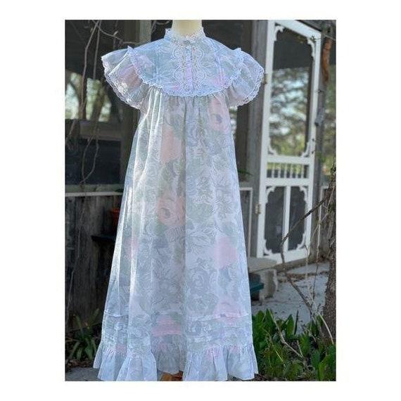 Cottagecore Vintage Maxi Night Gown Pastel Lace - image 3