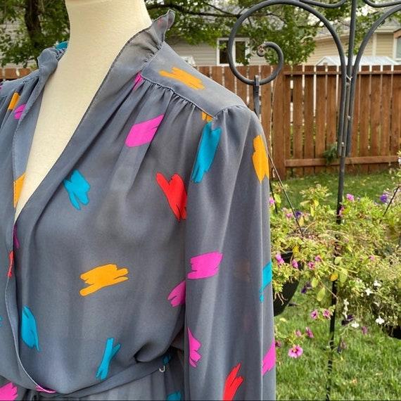 Vintage Faux Wrap Dress Paint Splatter Semi Sheer