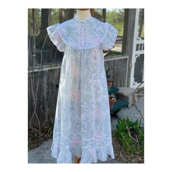 Cottagecore Vintage Maxi Night Gown Pastel Lace - image 9