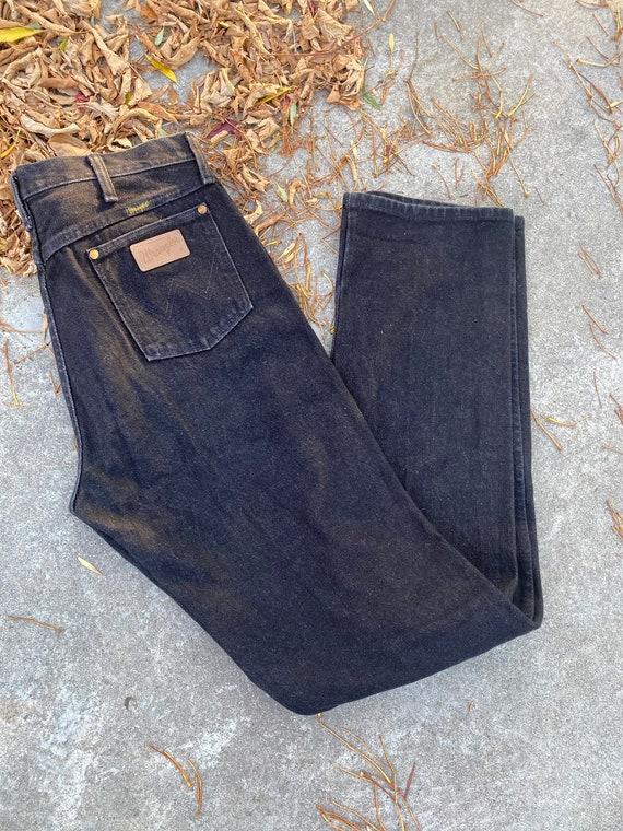 Vintage Men's Dark Grey Wrangler Jeans 34x38