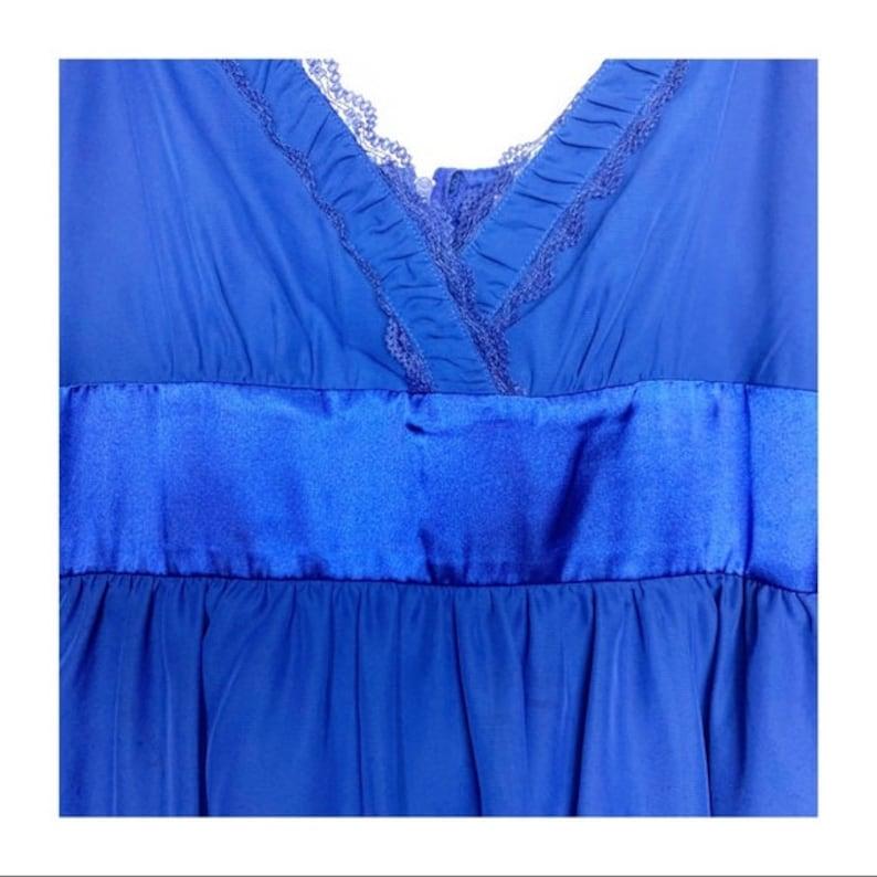 Vintage 90s Fire Los Angeles Babydoll Dress Electric Blue Retro Sash Lace Trim Chiffon Layered