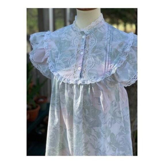 Cottagecore Vintage Maxi Night Gown Pastel Lace - image 6