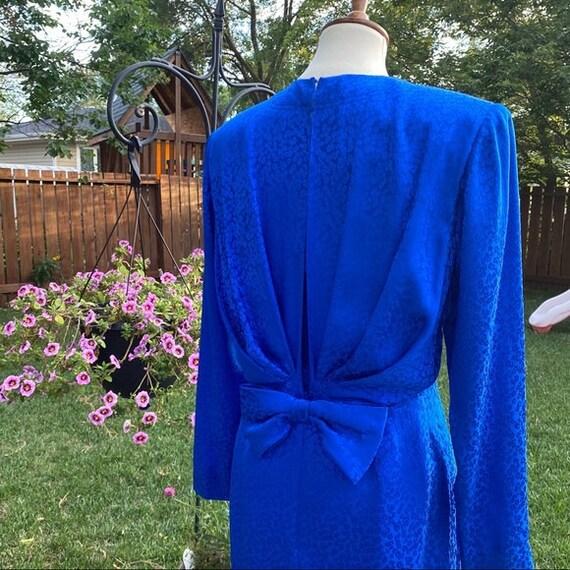 Vintage Blue Silk Jaquard Evening Dress Large Bow