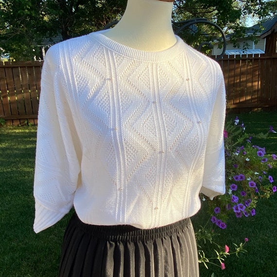 Vintage Chevron Knit Sweater Pearls Short Sleeve
