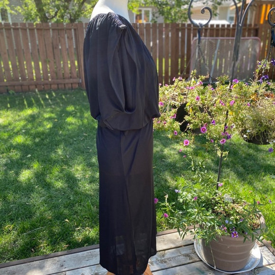 Tall Girl 70s Black Dress Sparkle Cap Sleeve Vintage