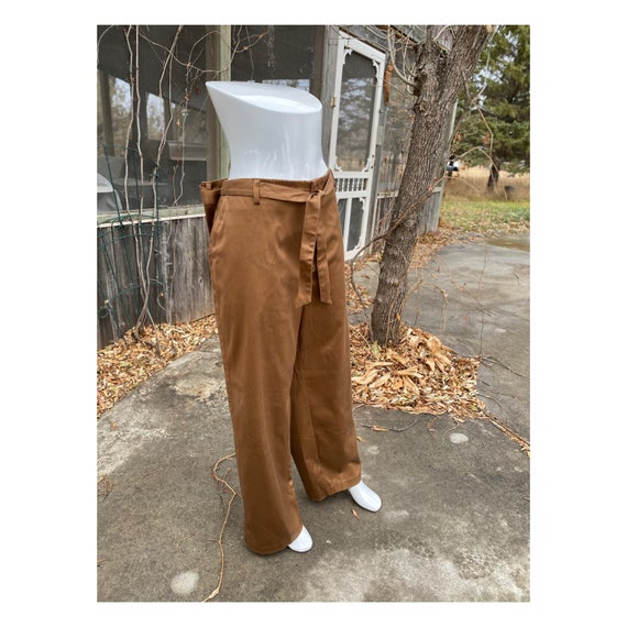 Vintage Trousers Pants Belt Wide Leg Gold Caramel