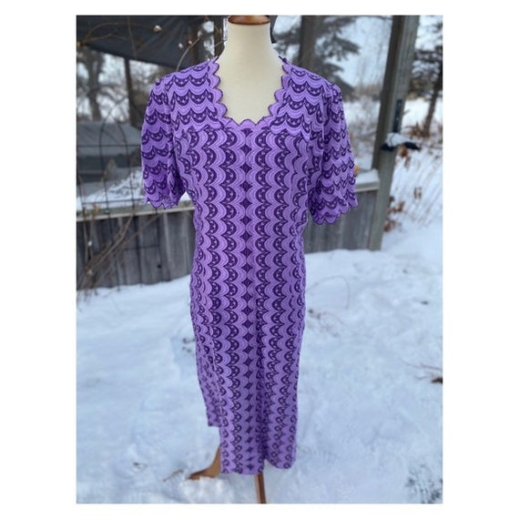 Vintage Lilac Embroidered Shirt Dress Scalloped