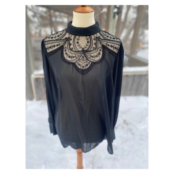 Vintage Sheer Black Blouse Lace Shoulders Keyhole
