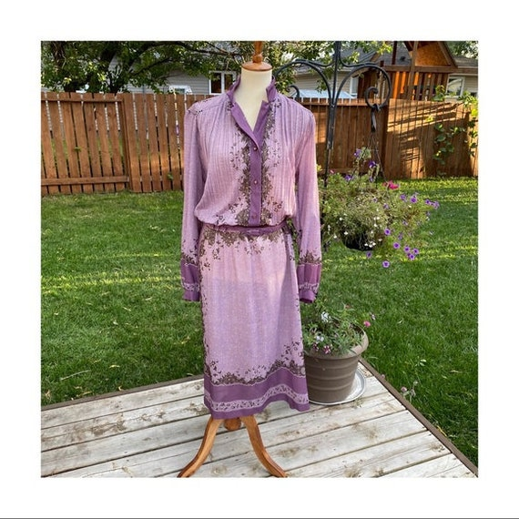 Vintage Day Dress 1970s Pleated Belted Purple