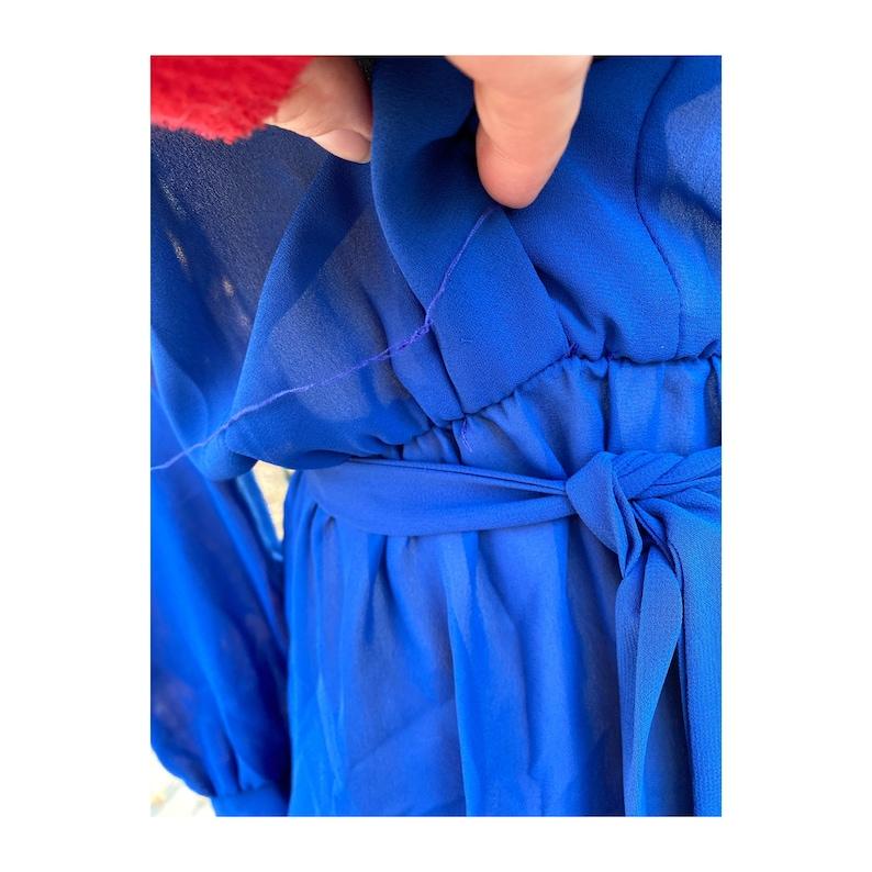 Blue Sheer Dress 70s Waterfall Ruffle Collar Union Label