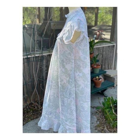 Cottagecore Vintage Maxi Night Gown Pastel Lace - image 10