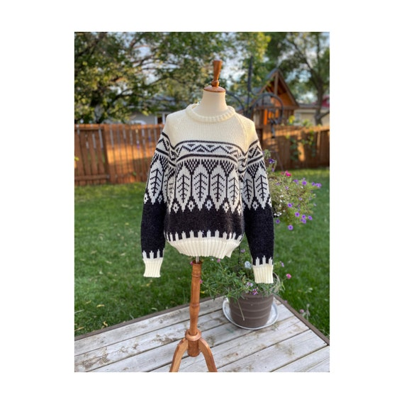 Vtg Acrylic Knit Sweater 80s Trees Feathers Crew
