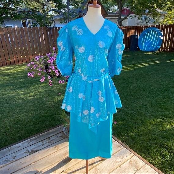 Vintage 1980's Peplum Pencil dress Puff Sleeves Sk