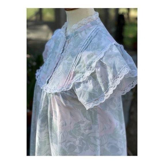 Cottagecore Vintage Maxi Night Gown Pastel Lace - image 4