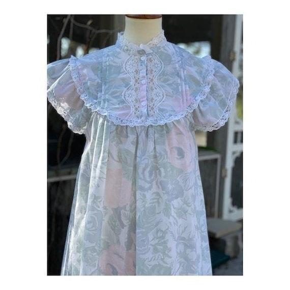 Cottagecore Vintage Maxi Night Gown Pastel Lace - image 1