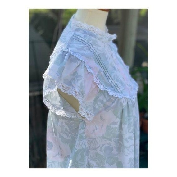 Cottagecore Vintage Maxi Night Gown Pastel Lace - image 2