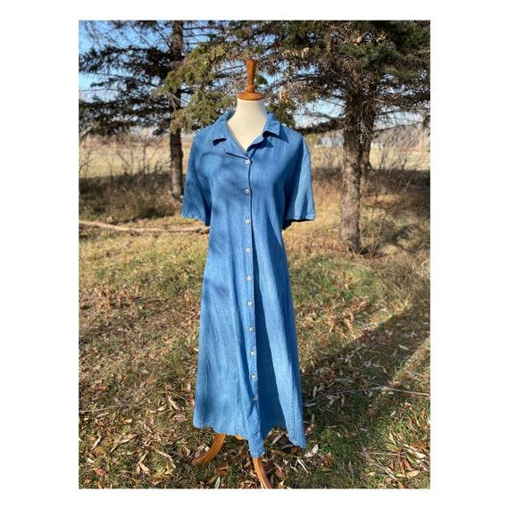 Vintage Jean Dress 80s Plus Size Western Cowgirl C
