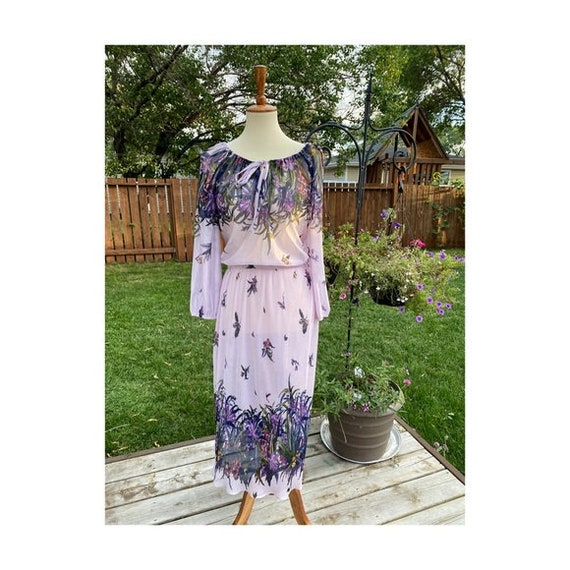 Vintage Day Dress lilac Floral Sheer Keyhole 70s