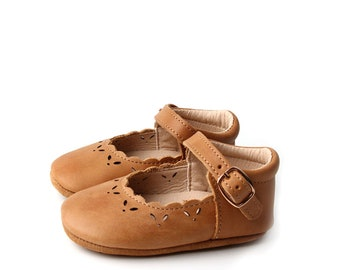 Mary Jane Moccasin Style Shoes for Baby and Toddler Girls | First Walker Leather Shoes | Flexible Sole Non Slip Shoes | Honey (size 3-8)