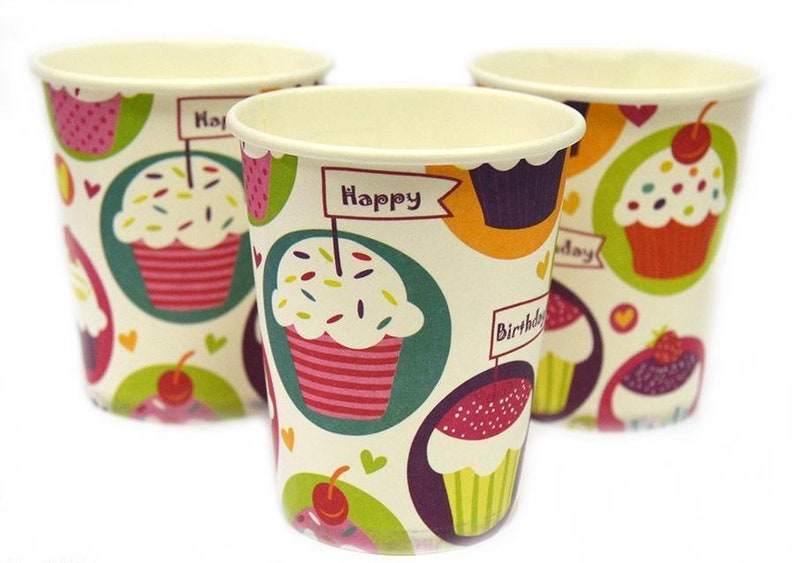 Cupcakes Cups Birthday Set of 10 Cups Birthday Party Cupcake Theme Girls Birthday Paper Cups Cupcakes Decorations for Party Cupcakes