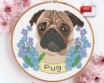 Cross Stitch Kit Pug-dog art.16-17