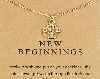 Gold or Silver Lotus  Sign Charm/ Pendant Necklace with Message Card- Meaningful Gifts