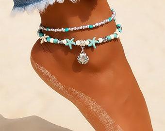 New High Quality ANKLETBrace Boho AnkleShell StarfishBeadsAnklets WomenBeach Foot JeweleryAnklet BarefootGifts GirlSilverBead Shell