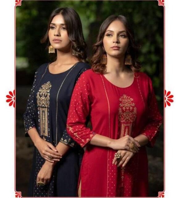 beach kaftan Bohemian tribal 2 side cut cotton relax kurti Red Indian golden block printed soft material kurti fallsummer casual dress