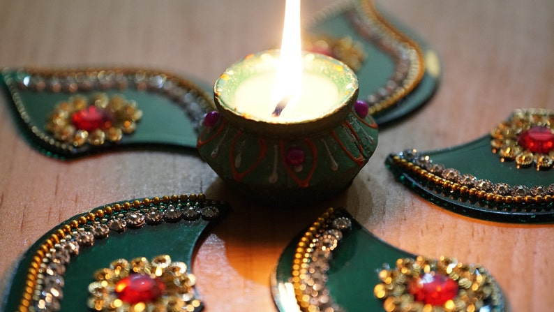 Hennamehndiwedding party candle decor Table top decoration with 1 PC clay hand painted wax diya Diwali candle center piece decoration