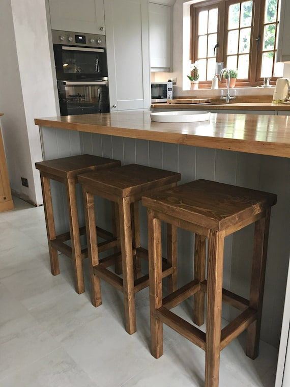 Wooden Bar Stool Breakfast Kitchen Bar High Chair Footrest | Etsy