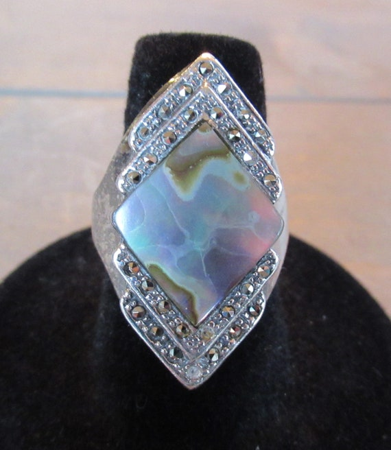 Vintage Sterling Mother of Pearl Marcasite Ring