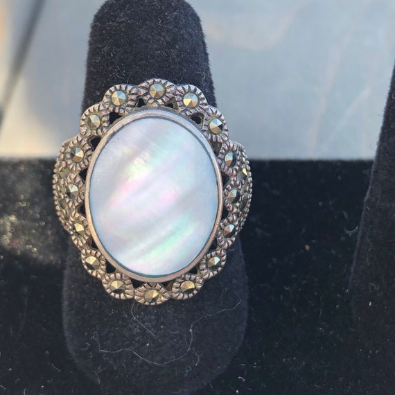 Vintage Mother of Pearl Sterling Marcasite Ring