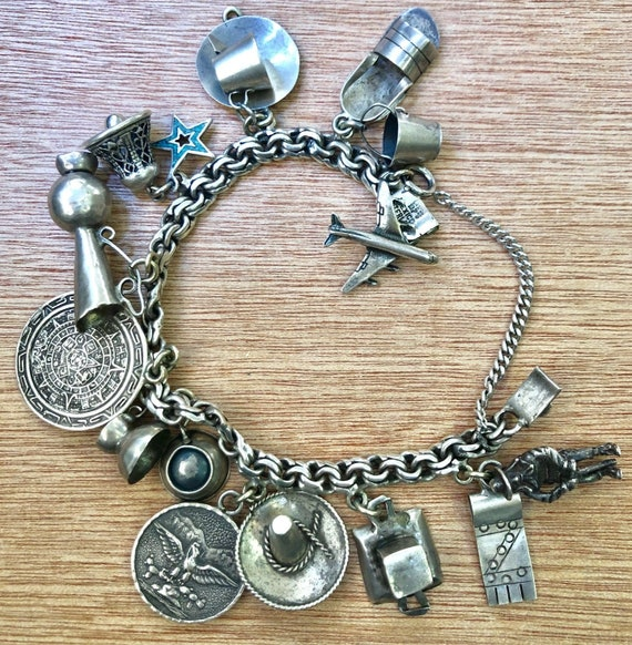 Vintage Sterling Silver Charm Bracelet - Mexico