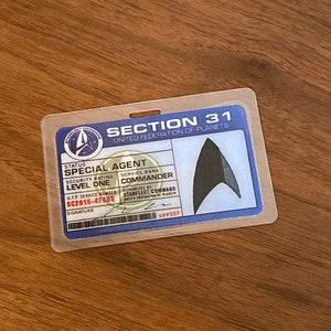 Star Trek Section 31 Starfleet Intelligence DS9 ID Badge Name Tag Card Prop