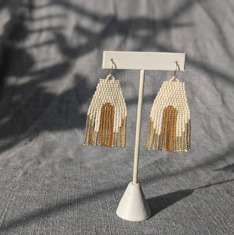 Arches beaded fringe earrings