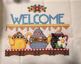 97acdb6e8 Mary Engelbreit Welcome Teapots Cross Stitch