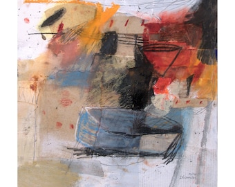 Original mixed media painting on paper from Danielle Lauzon - acrylic and collage