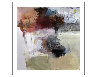 Original abstract painting mixed media on paper from Danielle Lauzon - acrylic and collage
