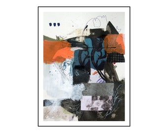 Original small abstract mixed media painting on paper from Danielle Lauzon - acrylic and collage