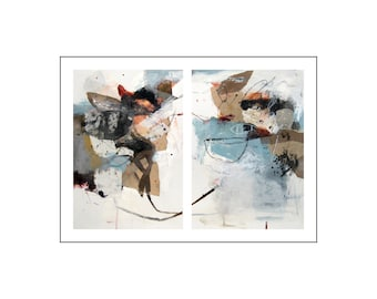 Solidarité 26, Original abstract painting mixed media on paper from Danielle Lauzon - acrylic and collage (diptych)