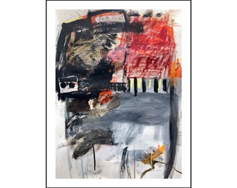 Abstract painting mixed media on paper from Danielle Lauzon - acrylic and collage
